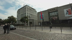 Tourists walking at streets of Dusseldorf - Germany Stock Footage