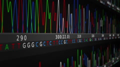 DNA Sequence. Lateral view. Black-Blue. 2 in 1. Loopable. Stock Footage