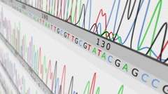 DNA Sequence. Lateral view. White-Cyan. 2 in 1. Loopable. Stock Footage