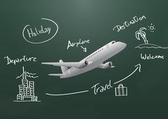 illustration of modern airplane with chalkboard - stock illustration