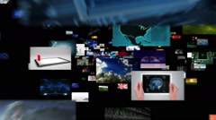 Journey through video screens showing multiple themed videos. Alpha matte. Stock Footage