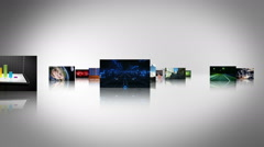 Journey through video screens showing multiple themed videos. Green Screen. Stock Footage