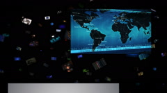 Video wall with financial themed clips falling. Loopable. - stock footage