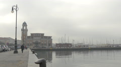 View of the port, Salone degli Incanti and the aquarium in Trieste Stock Footage