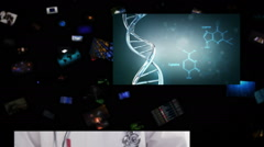 Video wall with medical themed videos falling. Black background. Loopable. - stock footage