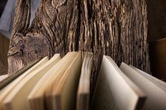 Top view of old book stack over old grunge natural wooden shabby Stock Photos