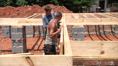 Construction Workers Working On New Construction Stock Footage