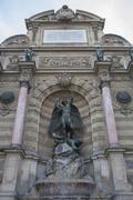 Low angle view of Fontaine Sant Michel, Paris, Ile-de-France, France Stock Photos