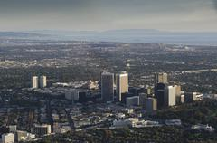 Aerial view of Los Angeles cityscape, California, United States - stock photo