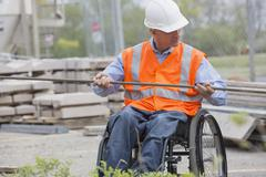 Caucasian engineer working on construction site Stock Photos