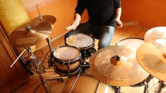 A drummer performing on his Drumset. Stock Footage