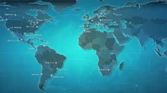 World map with connections and cities. Loopable. Blue. Stock Footage