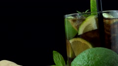 Fresh made Cocktail (Cuba Libre; 4K; not loopable) Stock Footage