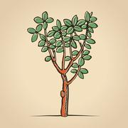 woodcut print tree - stock illustration