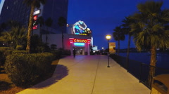 Aquarius Casino Riverwalk Entrance At Dusk- Laughlin NV Stock Footage