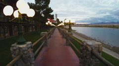 Laughlin Nevada Riverwalk Along Colorado River At Dusk Stock Footage