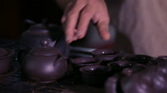 Traditional Asian Tea Ceremony Stock Footage