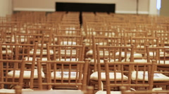 Empty Chairs Slider Shot - Audience Seating at a Gala Event No2 Stock Footage