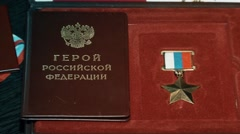 Gold Star of Hero of the Russian Federation. - stock footage