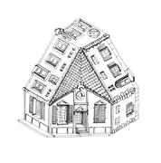Three way impossible house - stock illustration