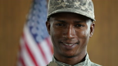 Soldier smiling, dolly shot Stock Footage