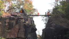 Monks in Ob Luang National Park Stock Footage