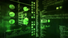 Financial data and growing charts. Green. Loopable. 2 videos in 1 file. Stock Footage
