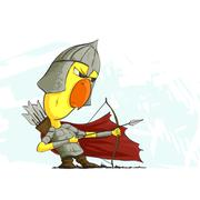 chicken archer ready to action - stock illustration
