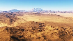 Flight over the desert landscape, red planet Stock Footage