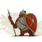 Bear warrior with a spear Stock Illustration