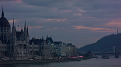 Hungarian Parliament, Budapest - stock footage