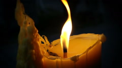slowmotion video of a burning candle - stock footage
