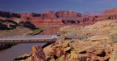 Bridge over  Colorado River Glenn Canyon National Recreation Area Stock Footage