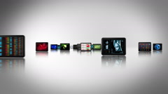 Journey through tablets and mobile phones with videos. White/black. Loopable. Stock Footage