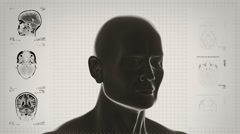 Highly detailed head scan. Loopable. Black/white. White background. Stock Footage