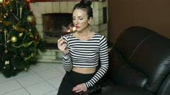Young brunette woman  quit smoking Cigarette  4k Stock Footage