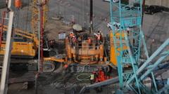 Construction crew, architect, engeneer on work construction sight Stock Footage