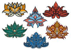 Colorful paisley flowers with indian motifs Stock Illustration