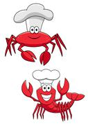 Cartoon red crab and shrimp chefs in cook hats - stock illustration