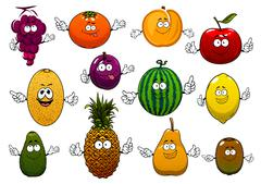 Happy ripe and fresh cartoon fruits Stock Illustration