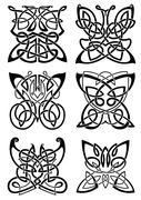 Celtic tattoos of black butterflies - stock illustration