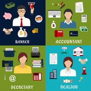 Stock Illustration of Banker, accountant, secretary and realtor icons