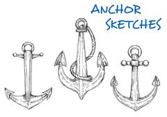 Sketch of vintage nautical anchors with rope Stock Illustration
