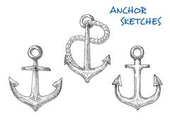 Sketches of old ship anchors with rope - stock illustration