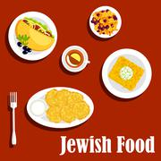 Jewish cuisine vegetarian dishes and pastry Stock Illustration