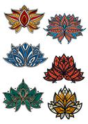 Colorful flowers with oriental paisley motifs Stock Illustration