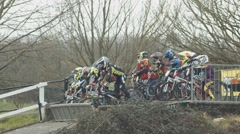 Kid BMX Racers Out of Gate - stock footage