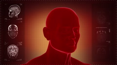 Highly detailed head scan. Loopable. Red background. - stock footage