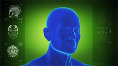 Highly detailed head scan. Loopable. Green background. - stock footage