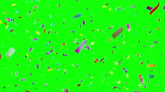 Multicolored confetti falling. Loopable. Chroma key. Stock Footage
